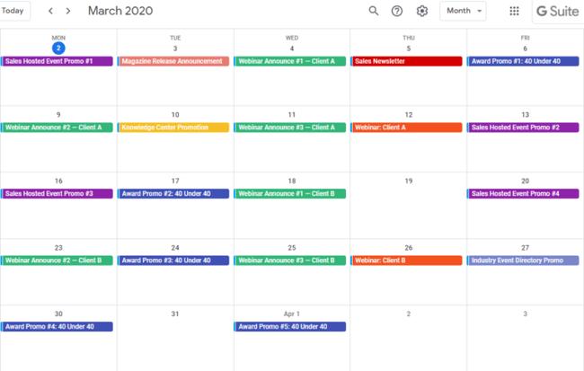 Use Google Calendar as your internal Marketing campaign or content calendar.