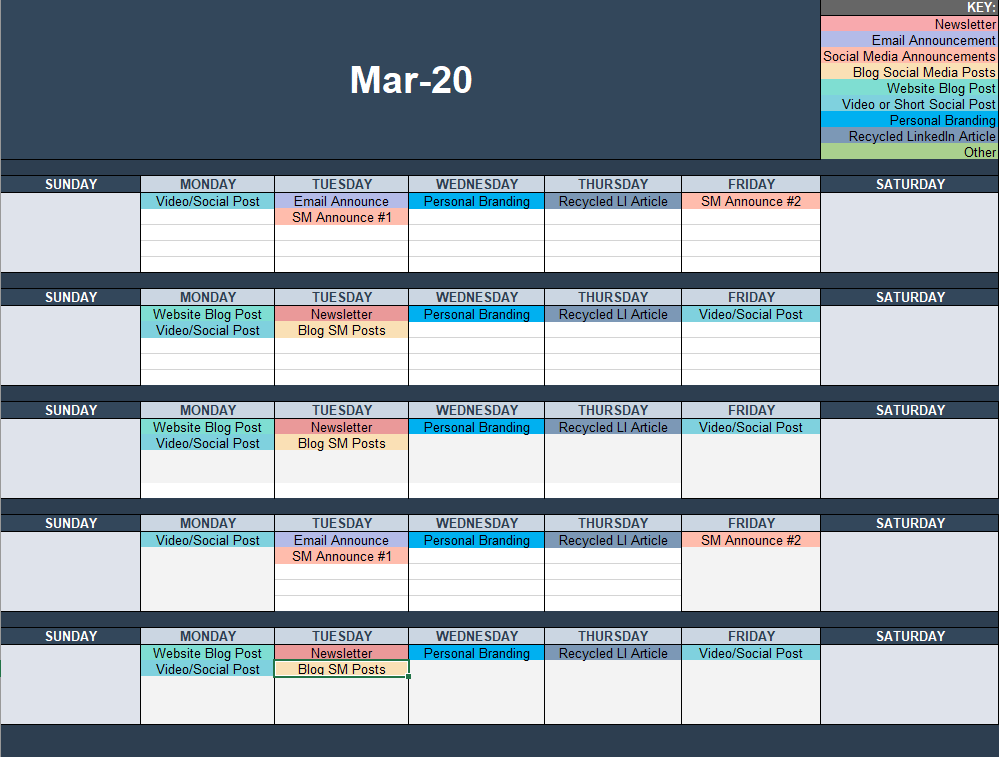 Content Calendar created using MS Excel, with a content key
