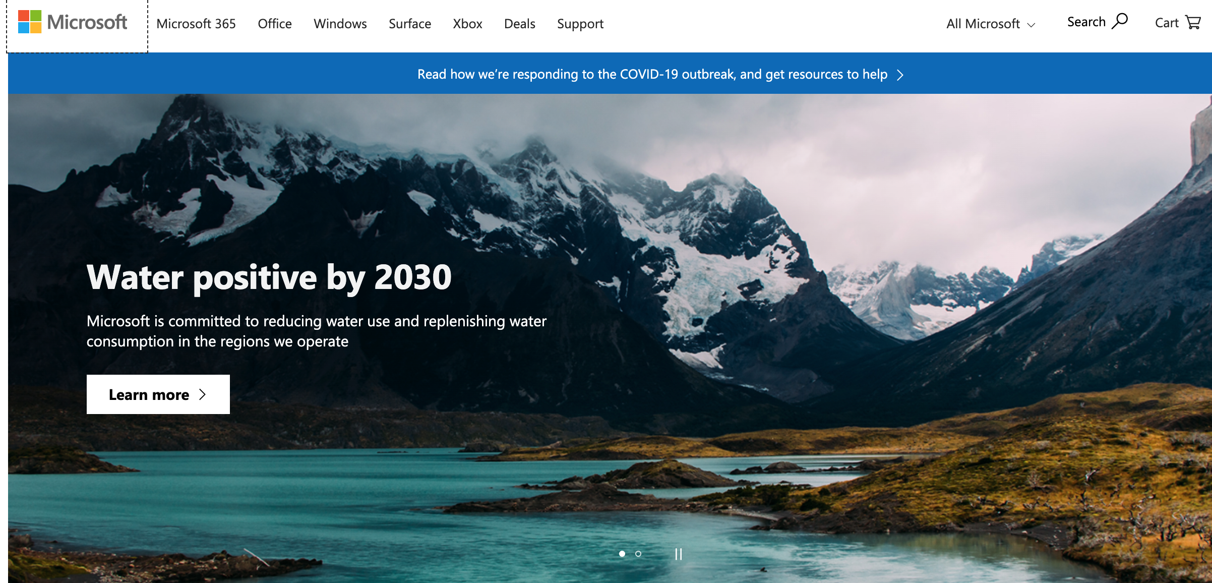 Microsoft's home page with COVID-19 response