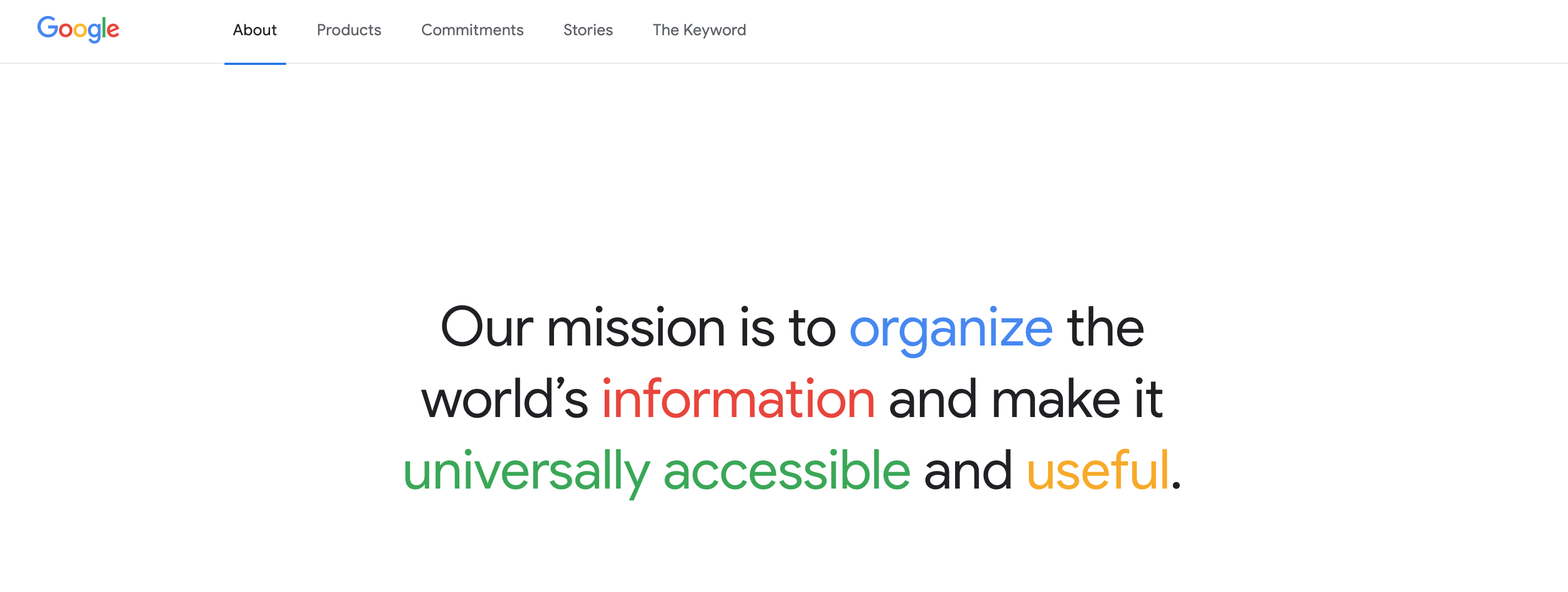 Google's home page with mission statement